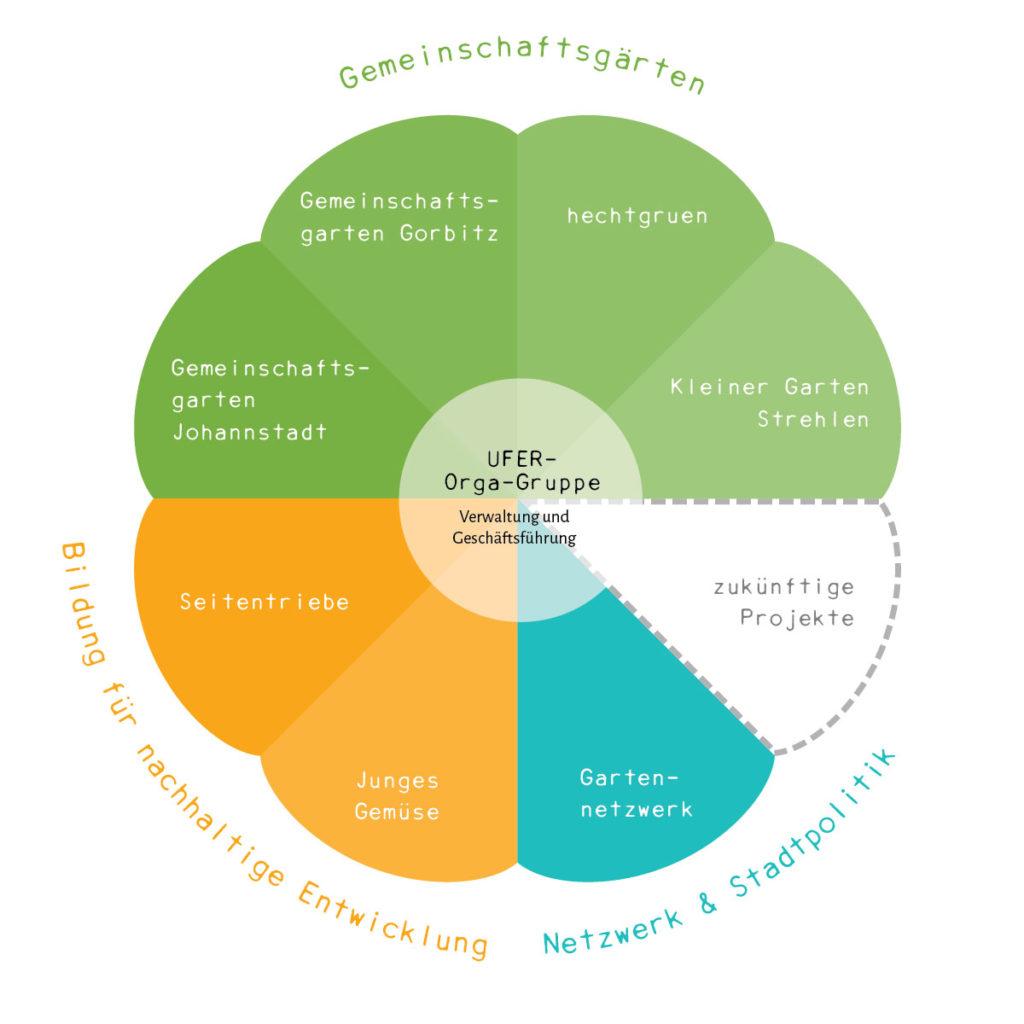 Organigramm UFER-Projekte Dresden e. V.